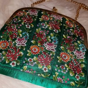GORGEOUS GREEN MUTI FLOEAL EMBROIDERED BAG